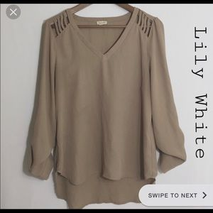 Lily White Brown Blouse with shoulder detail